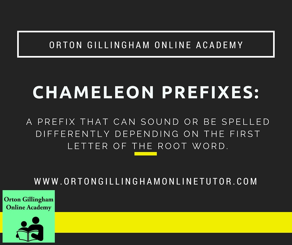 Chameleon Prefixes Orton Gillingham Online Academy