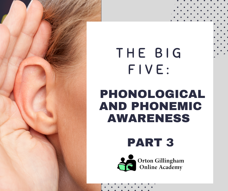 THE BIG FIVE PHONOLOGICAL AND PHONEMIC AWARENESS PART 3